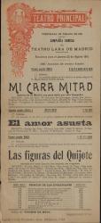 """Programa de mano de """"Las figuras del Quijote"""" de Carlos Fernández Shaw : Compañía Cómica de Teatro Lara de Madrid, Teatro Principal."""