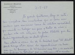Carta de Leopoldo Magenti a Guillermo Fernández-Shaw, retomando su trabajo teatral tras la muerte de su mujer, comentando diversos temas comunes.