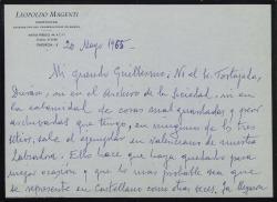 """Carta de Leopoldo Magenti a Guillermo Fernández-Shaw, comentando que por no haber encontrado ni en su desordenado archivo la versión valenciana de """"La labradora"""" ésta se tendrá que representar en castellano como otras veces."""