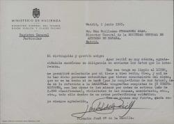 Carta de José García de la Rasilla a Guillermo Fernández-Shaw, diciéndole que le enviará el libro que prepara cuando lo tenga en limpio para que lo lea.