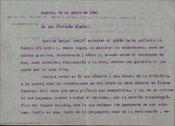 """Carta de Guillermo Fernández-Shaw a Fernando Mignoni aceptando que el guión cinematográfico que éste prepara lleve incluidos unos números de """"La revoltosa"""" siempre que quede claro que no se trata del guión de """"La revoltosa"""" sino de una obra en la que se representan o cantan trozos de ella."""