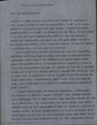 Carta de Guillermo Fernández-Shaw a Ernesto Lecuona contándole sus gestiones con Primelles, que ha recibido el cartapacio con las fotografías y que está entusiasmado con sus sugerencias para una obra en colaboración que tendrán oportunidad de decidir en Madrid en breve.