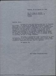 Copia de carta de Guillermo Fernández-Shaw a Juan de Orduña, interesándose por las consecuencias del incendio de la CEA, expresando sus mejores deseos para él.