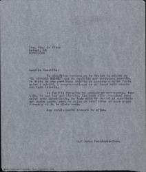 """Copia de carta de Guillermo Fernández-Shaw a Concepción Roig, viuda de José Vives, diciéndole que ha recibido la documentación de """"El abanico duende"""" que tratará con todo interés."""