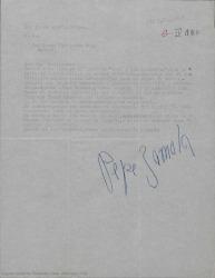 """Carta de José Zamora a Guillermo Fernández-Shaw diciéndole que ha recibido el libro """"Rita y sus muchachos"""" y que ha empezado a planear vestidos y decorados mientras espera más noticias."""