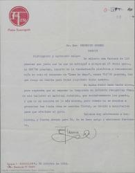 """Carta de Salvador Alarma a Federico Romero, adjuntándole una factura por la restauración del decorado de """"Luna de Mayo""""."""