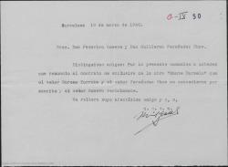 """Carta de Miguel Casals a Guillermo Fernández-Shaw y Federico Romero, comunicando su renuncia al contrato en exclusiva de """"Monte Carmelo""""."""