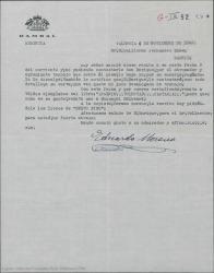 Carta de Eduardo Moreno, por encargo de Enrique Rambal, a Guillermo Fernández-Shaw, acusando recibo de una carta suya y anunciando el envío de dos ejemplares de un libro pidiendo que le haga llegar uno al señor Gehri.