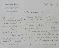 """Carta de Emilio Carrere a Federico Romero, opinando que la """"La sombra del Pilar"""" es un desacierto y que no debería pasar a la Antología."""