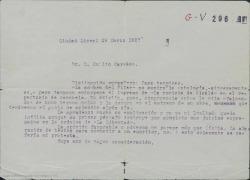 """Carta de Federico Romero a Emilio Carrere, contestando a una crítica desfavorable de éste sobre """"La sombra del Pilar""""."""