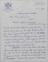 """Carta de Felipe Sassone a Guillermo Fernández-Shaw, dando su opinión y consejos sobre la obra """"El Burlador"""" que acaba de leerse."""