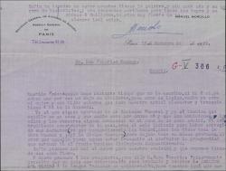 """Carta de Manuel Morcillo a Federico Romero, diciéndole que hay una empresa que quiere traducir y adaptar """"La canción del olvido"""" a la lengua francesa; que necesita la autorización."""