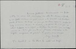 Carta de Joaquín Dicenta a Guillermo Fernández-Shaw, pidiéndole le preste algo de dinero.