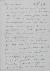Borrador de carta de Guillermo Fernández-Shaw a Federico Romero, hablándole de asuntos teatrales y familiares.