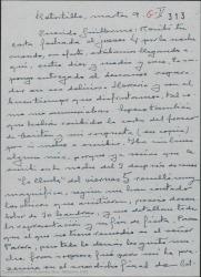 Carta de Federico Romero a Guillermo Fernández-Shaw, acusando recibo de una suya y hablándole de asuntos teatrales.
