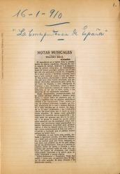 """Cuaderno 17 (1910). Fotos, críticas y recortes de periódicos sobre """"Colomba""""."""