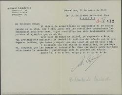 Carta de Manuel Capdevila a Guillermo Fernández-Shaw acusando recibo de la carta con las modificaciones de una obra de Molière y diciéndole que ya ha entregado la obra a Eduard Toldrá.