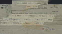Telegrama de Federico Romero a Guillermo Fernández-Shaw rogándole le entregue a Plácido Domingo 200 pesetas.