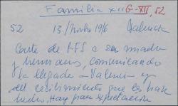 """Carta de Guillermo Fernández-Shaw a su madre, Cecilia Iturralde, y hermanos, comunicando su llegada a Valencia y la gran expectación ante el estreno de """"La canción del olvido""""."""