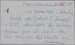 """Carta de Gabriel Fernández Shaw a Guillermo Fernández-Shaw, dándole la enhorabuena por el éxito de """"la canción del olvido"""" y expresando su alegría por su triunfo."""