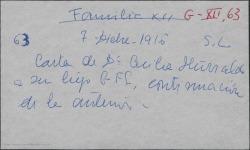 Carta de Cecilia Iturralde a su hijo Guillermo Fernández-Shaw, dando noticias de la familia y contenta con las noticias que le da en sus cartas.