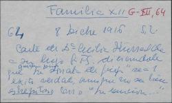 """Carta de Cecilia Iturralde a su hijo Guillermo Fernández-Shaw, deseándole suerte en el estreno de """"La sonata de Grieg"""" mostrándose contenta con el trato que está recibiendo éste en Valencia."""