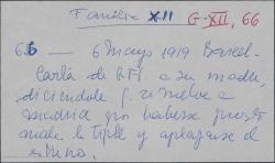 Carta de Guillermo Fernández-Shaw a Cecilia Iturralde, diciéndole que se vuelve a Madrid por haberse aplazado el estreno por enfermedad de una tiple.