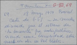 """Carta de Guillermo Fernández-Shaw a Cecilia Iturralde, contando que el estreno de """"La serranilla"""" fue muy satisfactorio aún siendo una temeridad estrenar en ese teatro, donde han corrido un peligro serio."""