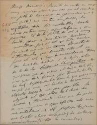 """Carta de Amadeo Vives a Federico Romero, hablándole de escenas y números de """"Doña Francisquita"""" y dándole indicaciones para los decorados."""