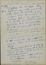 """Carta de Amadeo Vives a Guillermo Fernández-Shaw y Federico Romero, diciéndoles que les envía """"monstruos"""" y que ha recibido los cantables de """"La villana""""."""