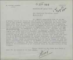 """Carta de José Vives a Guillermo Fernández-Shaw, proponiéndole un contacto suyo como posible intermediario para el estreno de """"Doña Francisquita"""" en inglés en Londres siempre que no haya un compromiso firme ya con alguien en este sentido."""