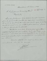 Carta de José Vives a Guillermo Fernández-Shaw, anunciándole el inmediato envío de una sinopsis de zarzuela escrita por él que espera le guste y en la que desearía se convirtieran en colaboradores.