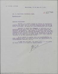 Carta de José Vives a Guillermo Fernández-Shaw, acusando recibo de la mensualidad acordada como parte de la liquidación de ciertos derechos de autor que se le adeudan y adjuntando el argumento del que han hablado varias veces que cree se podría musicar con números de zarzuelas de su padre.