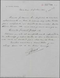 Carta de José Vives a Guillermo Fernández-Shaw, mandándole las señas de su nuevo domicilio y esperando poder visitarle en Madrid en breve.