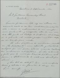 """Carta de José Vives a Guillermo Fernández-Shaw, acusando recibo de la mensualidad acordada como pago de ciertos derechos de autor que se le adeudan, comentando que trabaja en preparar el rodaje de una película y dando datos de """"la Presidenta"""", una antigua opereta de su padre."""