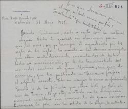 Carta de Leopoldo Magenti a Guillermo Fernández-Shaw, comentando su reciente encuentro y describiéndole un fragmento de una película de ambiente valenciano.