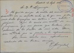 Carta de Pablo Sorozábal a Francisco Lizárraga adjuntando como contestación a su petición, un recorte de un programa de mano en el que aparecen datos sobre su vida y una fotografía suya que puede reproducir.