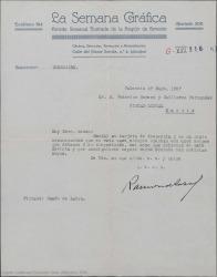 Carta de Ramón Labra a Guillermo Fernández-Shaw y Federico Romero, acusando recibo de su tarjeta de despedida y poniéndose a su disposición.