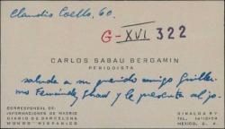 Tarjeta de visita de Carlos Sabau a Guillermo Fernández-Shaw, saludándole y presentándole a un autor mexicano.