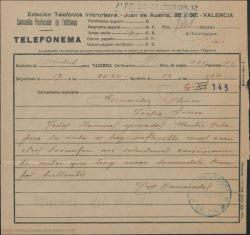 Telefonema felicitando a Guillermo Fernández-Shaw por su éxito.
