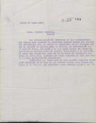 """Carta de """"La Unión Musical Española"""" a Guillermo Fernández-Shaw y Federico Romero, hablando de unos derechos sobre """"La villana""""."""