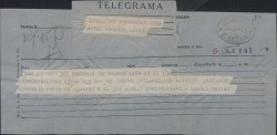 Telegrama de Manuel Merino a Guillermo Fernández-Shaw, adhiriéndose a un homenaje.