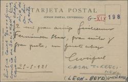 Tarjeta postal de Enrique Casal a Guillermo Fernández-Shaw, enviándole un abrazo.