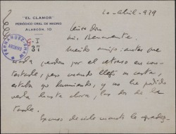 Carta de Federico García Sanchiz a Luis Benavente, agradeciéndole una atención y aludiendo a Guillermo Fernández-Shaw.