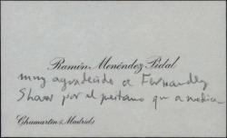 Tarjeta de visita de Ramón Menéndez Pidal agradeciendo a Guillermo Fernández-Shaw un préstamo en el que medió Melchor Fernández Almagro.