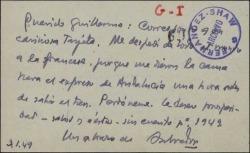 Tarjeta de visita de Salvador González Anaya a Guillermo Fernández-Shaw excusándose por no haberse despedido.