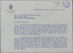 Carta de un miembro de la Real Academia Española, de firma ilegible, a Guillermo Fernández-Shaw sobre un negocio relacionado con la plaza de toros.