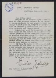 Carta de Emilia Iglesias a Guillermo Fernández-Shaw y Federico Romero, sobre cierto contrato con el Teatro Price.