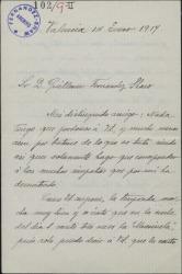 Carta de Concha Gil a Guillermo Fernández-Shaw, dándole cuenta de los éxitos que en Valencia obtiene con sus obras.