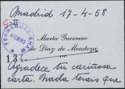 Tarjeta de visita de María Guerrero de Díaz de Mendoza a Guillermo Fernández-Shaw, agradeciendo su carta.